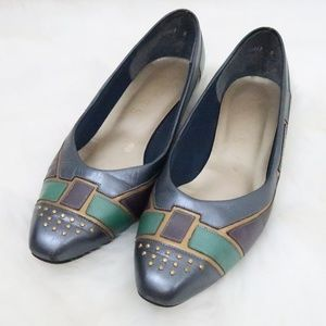 Vintage Selby Leather Heels Metallic 9